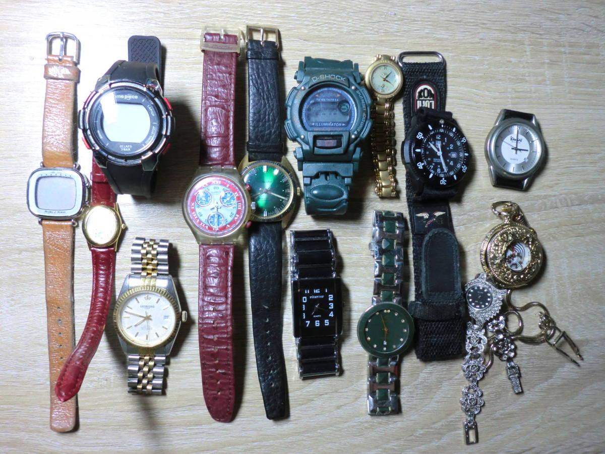 激震スタート! 腕時計いろいろ14本 ジャンク エルジン カンサイ スウォッチ ルミノックス マーキュリー 電池切 不動品 長期保管 破損 故障
