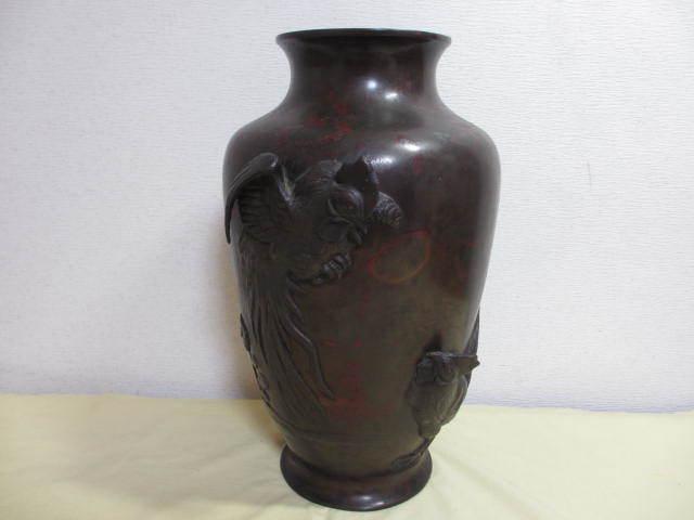 古玩 古銅 花瓶 陽刻 双鶏の図