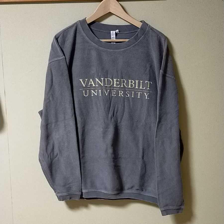 VANDEIBILT UNIVERSITY トレーナー コーデュロイ スウェット 大きめサイズ アメリカ古着 ビッグシルエット カレッジ系トレーナー