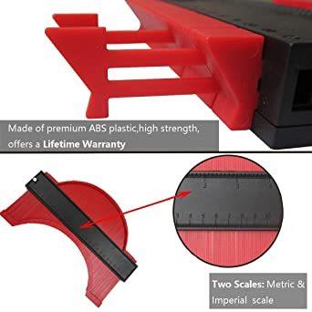250mm レッド 250mm 型取りゲージ コンターゲージ 250mm 測定ゲージ 測定工具プラスチック製 目盛付き(レッド)_画像2