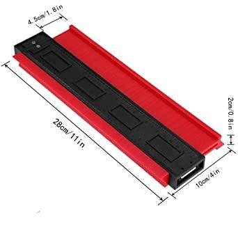 250mm レッド 250mm 型取りゲージ コンターゲージ 250mm 測定ゲージ 測定工具プラスチック製 目盛付き(レッド)_画像3