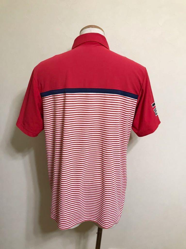 le coq sportif GOLF ルコック ゴルフ ウェア ボーダー ドライ ポロシャツ トップス レッド サイズL 半袖 赤 白 QGL1021CP デサント_画像2