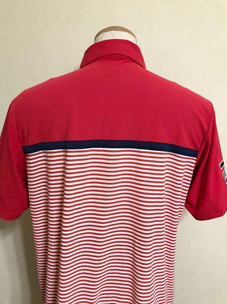 le coq sportif GOLF ルコック ゴルフ ウェア ボーダー ドライ ポロシャツ トップス レッド サイズL 半袖 赤 白 QGL1021CP デサント_画像4