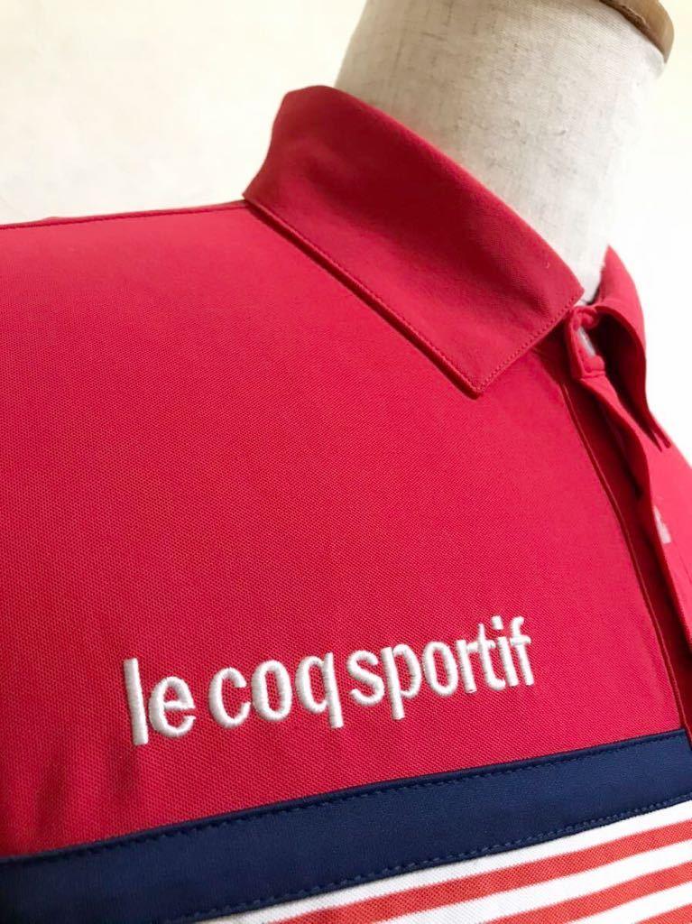 le coq sportif GOLF ルコック ゴルフ ウェア ボーダー ドライ ポロシャツ トップス レッド サイズL 半袖 赤 白 QGL1021CP デサント_画像9
