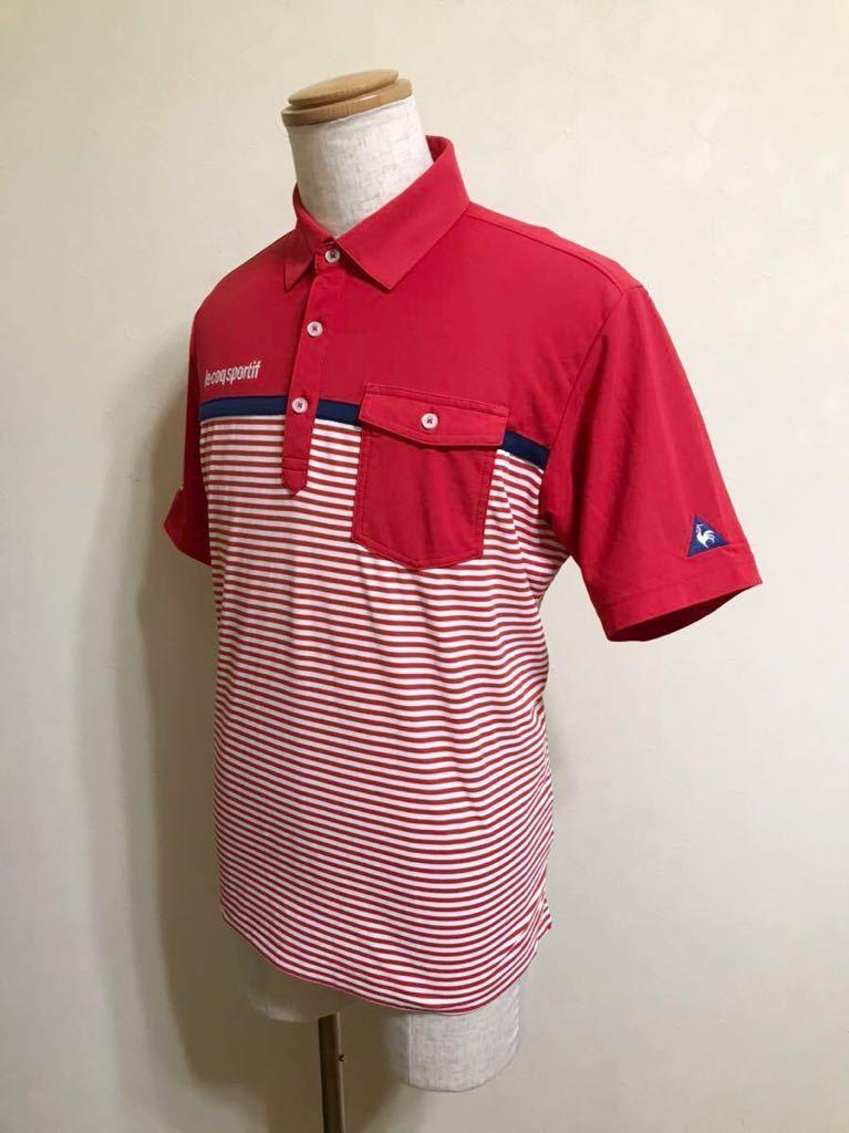 le coq sportif GOLF ルコック ゴルフ ウェア ボーダー ドライ ポロシャツ トップス レッド サイズL 半袖 赤 白 QGL1021CP デサント_画像6
