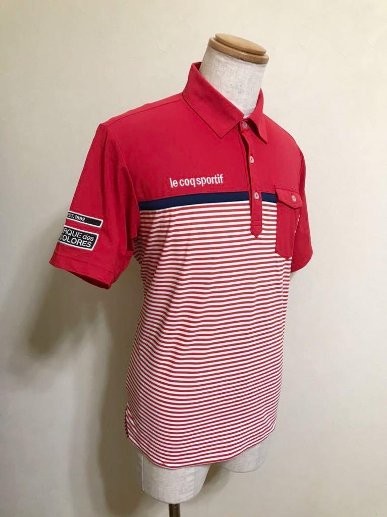 le coq sportif GOLF ルコック ゴルフ ウェア ボーダー ドライ ポロシャツ トップス レッド サイズL 半袖 赤 白 QGL1021CP デサント_画像8