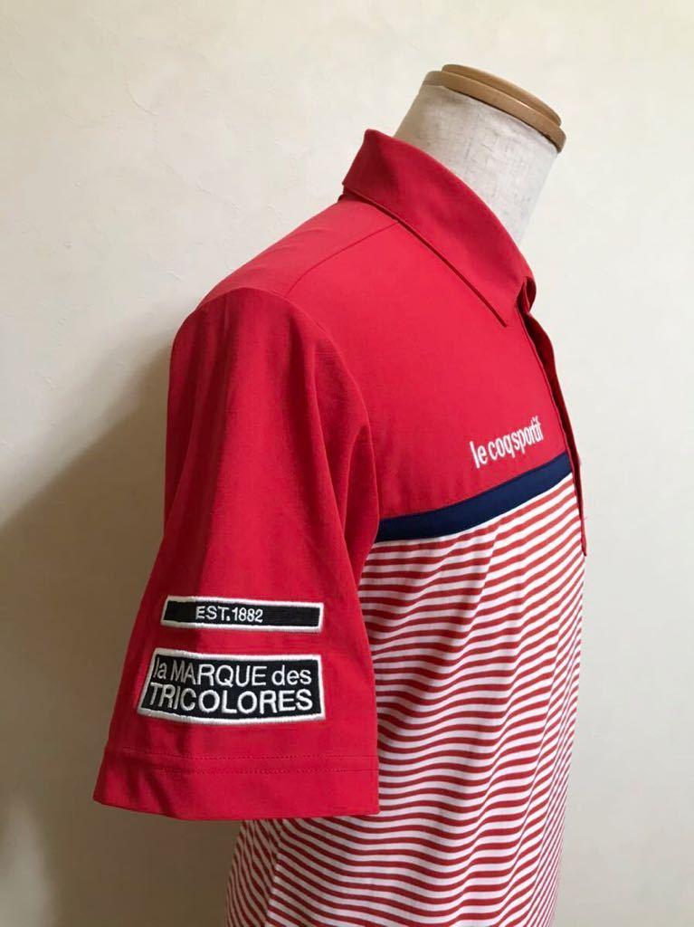 le coq sportif GOLF ルコック ゴルフ ウェア ボーダー ドライ ポロシャツ トップス レッド サイズL 半袖 赤 白 QGL1021CP デサント_画像7