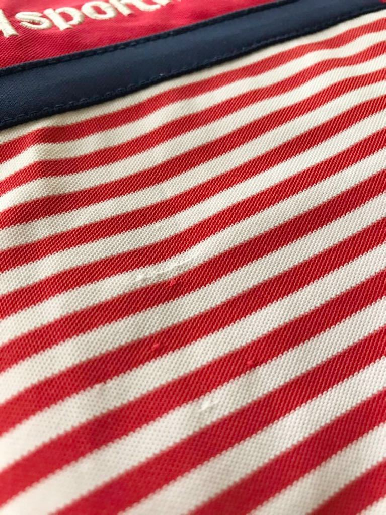 le coq sportif GOLF ルコック ゴルフ ウェア ボーダー ドライ ポロシャツ トップス レッド サイズL 半袖 赤 白 QGL1021CP デサント_多少のツレあり
