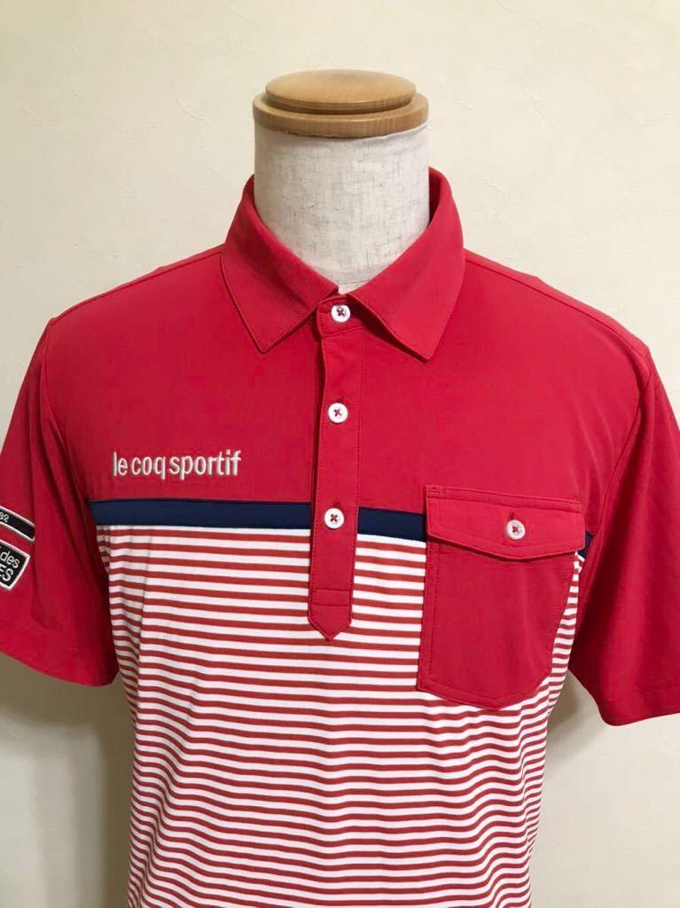 le coq sportif GOLF ルコック ゴルフ ウェア ボーダー ドライ ポロシャツ トップス レッド サイズL 半袖 赤 白 QGL1021CP デサント_画像3
