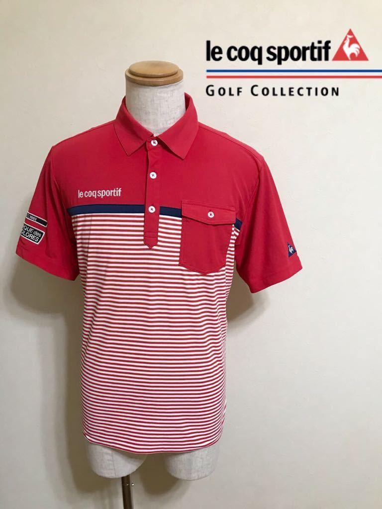le coq sportif GOLF ルコック ゴルフ ウェア ボーダー ドライ ポロシャツ トップス レッド サイズL 半袖 赤 白 QGL1021CP デサント_画像1