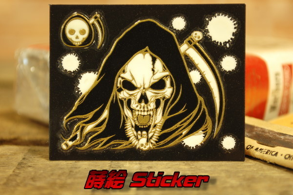 死神スカル 蒔絵風 転写 ステッカー 蓄光 ◆ 骸骨 デス 大鎌 JHST33_画像1