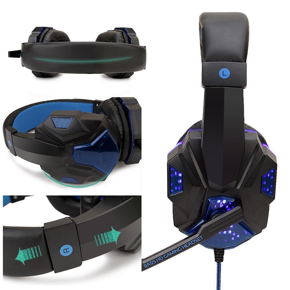 プロのledライトゲーマーコンピュータPS4 ゲーミングヘッドフォン調節可能なpc有線ヘッドセットとマイクギフト_画像6
