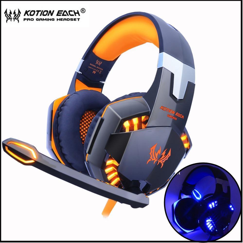Kotion 各ゲーミングヘッドセット重低音ステレオイヤホン led ライトマイクマイク pc の PS4 xbox_画像1