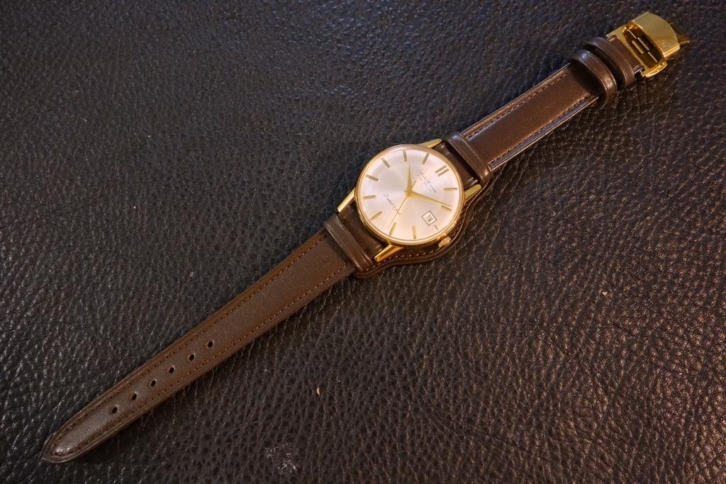 ◆台座付Dバックルビンテージベルト◆日本製 カーフ 台座尾錠選択可 19mm 強力撥水 ブラウン 茶 腕時計ベルト Vintage Deadstock SEIKO等に_使用例。時計は商品には含まれません。
