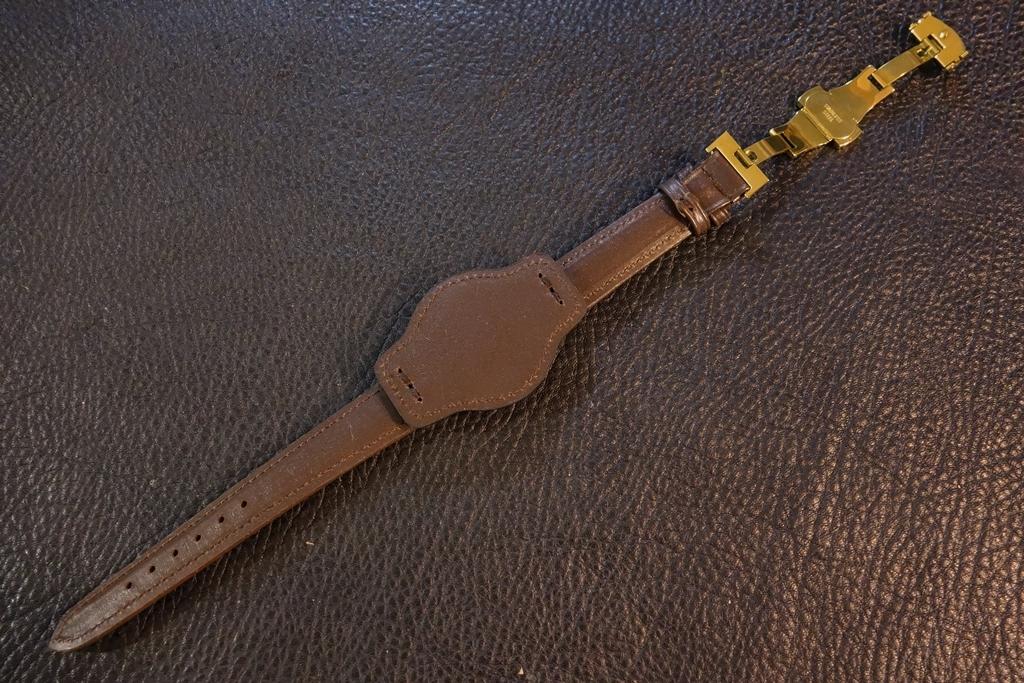 ◆台座付Dバックルビンテージベルト◆日本製 カーフ 台座尾錠選択可 19mm 強力撥水 ブラウン 茶 腕時計ベルト Vintage Deadstock SEIKO等に_バックルはシルバー、ゴールドから選択可能