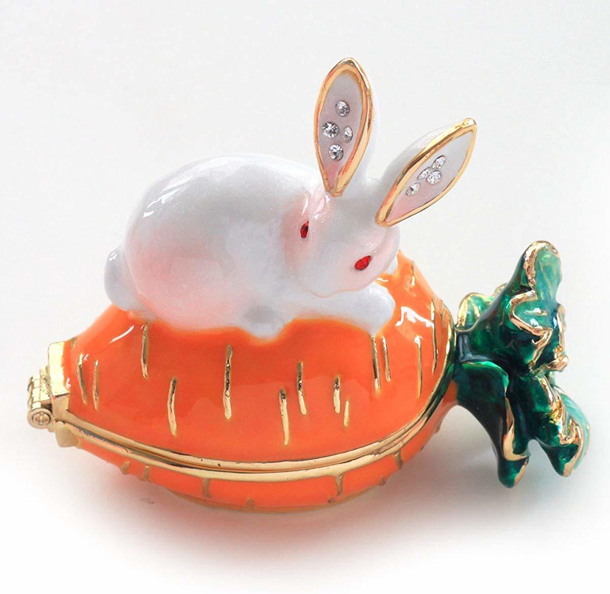 ウサギとキャロット ジュエリーボックス アクセサリーケース  リングケース 小物入れ うさぎ にんじん ウサギ ラビット_画像2