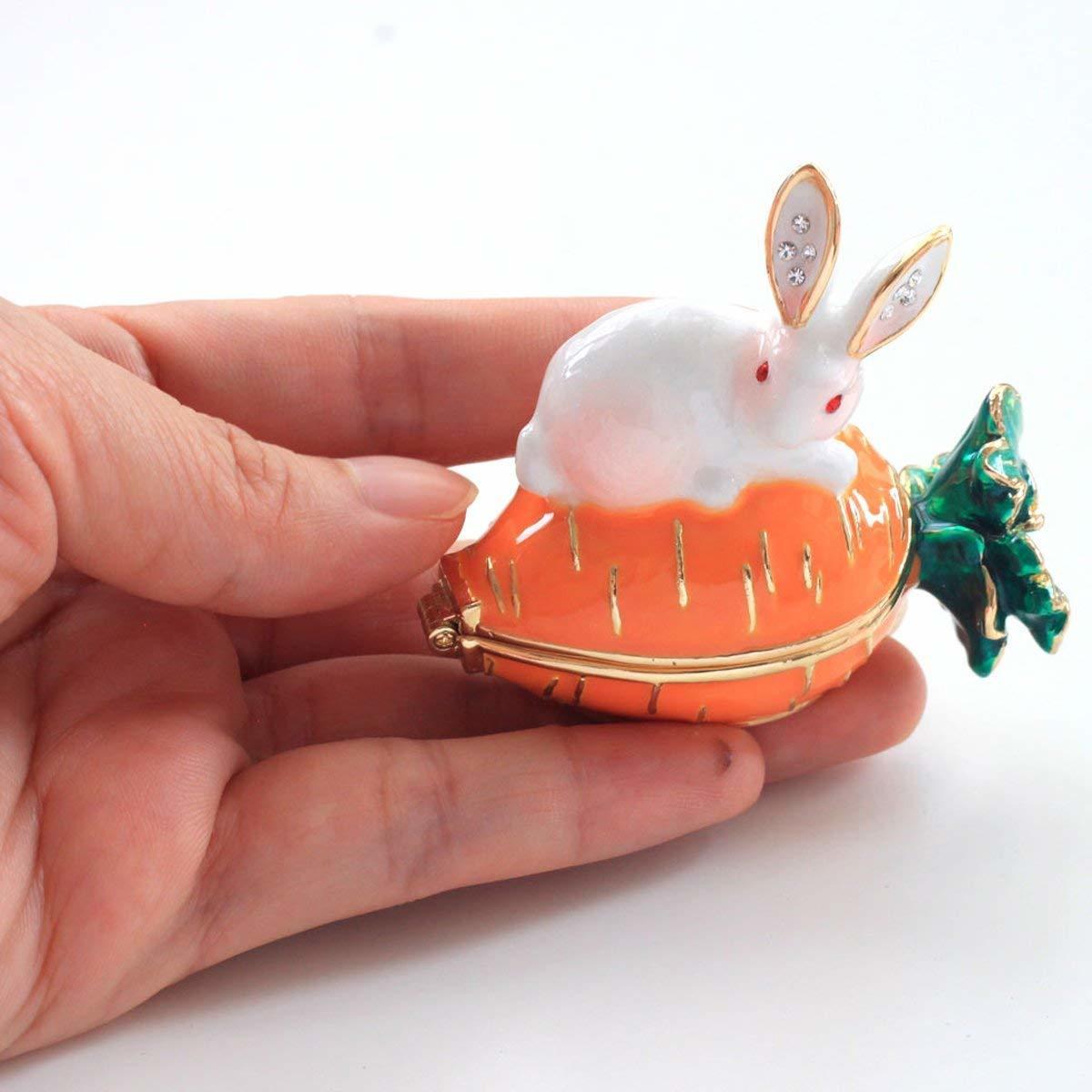 ウサギとキャロット ジュエリーボックス アクセサリーケース  リングケース 小物入れ うさぎ にんじん ウサギ ラビット_画像4