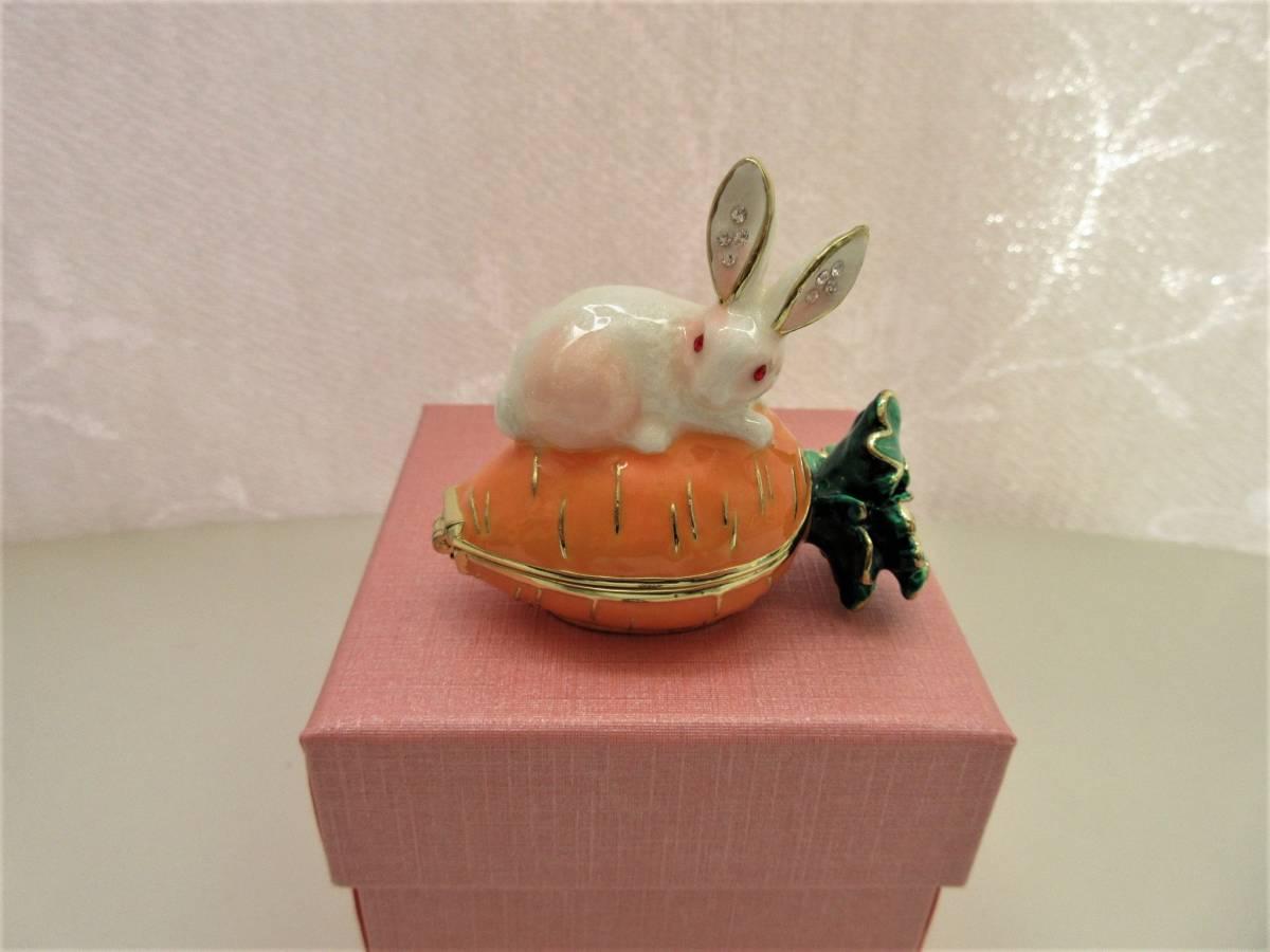ウサギとキャロット ジュエリーボックス アクセサリーケース  リングケース 小物入れ うさぎ にんじん ウサギ ラビット_画像10
