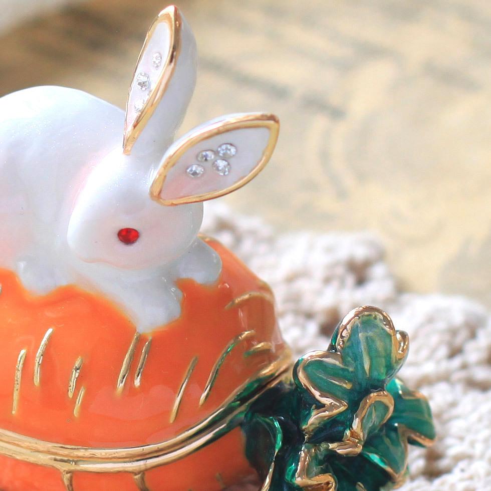 ウサギとキャロット ジュエリーボックス アクセサリーケース  リングケース 小物入れ うさぎ にんじん ウサギ ラビット_画像8