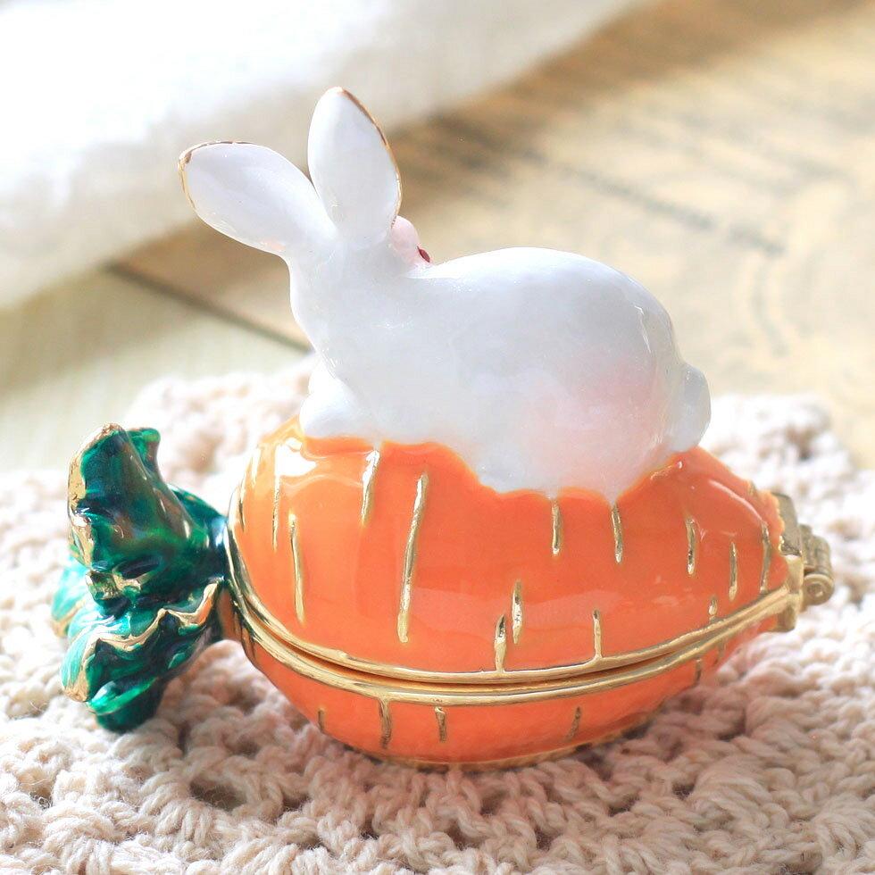 ウサギとキャロット ジュエリーボックス アクセサリーケース  リングケース 小物入れ うさぎ にんじん ウサギ ラビット_画像7
