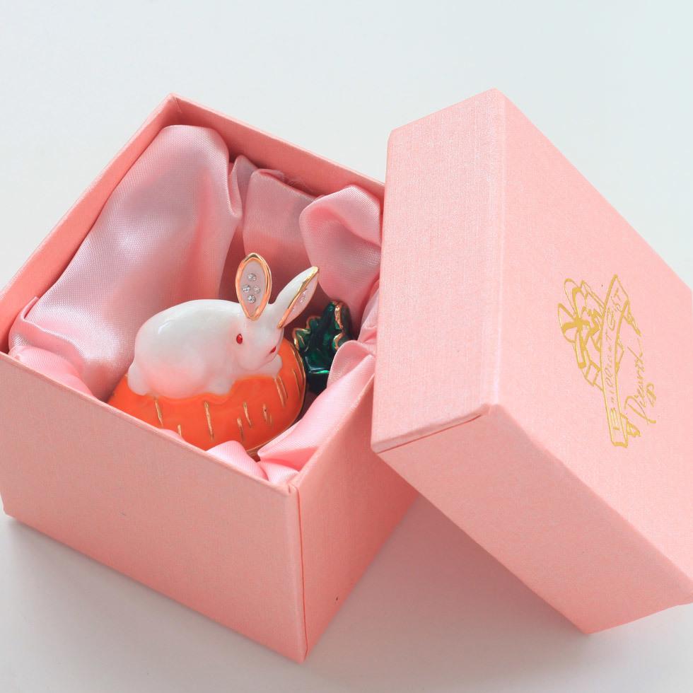 ウサギとキャロット ジュエリーボックス アクセサリーケース  リングケース 小物入れ うさぎ にんじん ウサギ ラビット_画像9