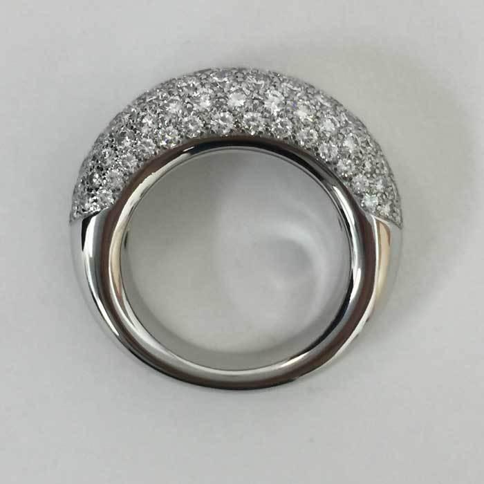 【新品同様】【美品】ショーメ CHAUMET アノーリング パヴェダイヤ MM 指輪 K18WG 15号相当 新品磨き済み シルバー_画像6