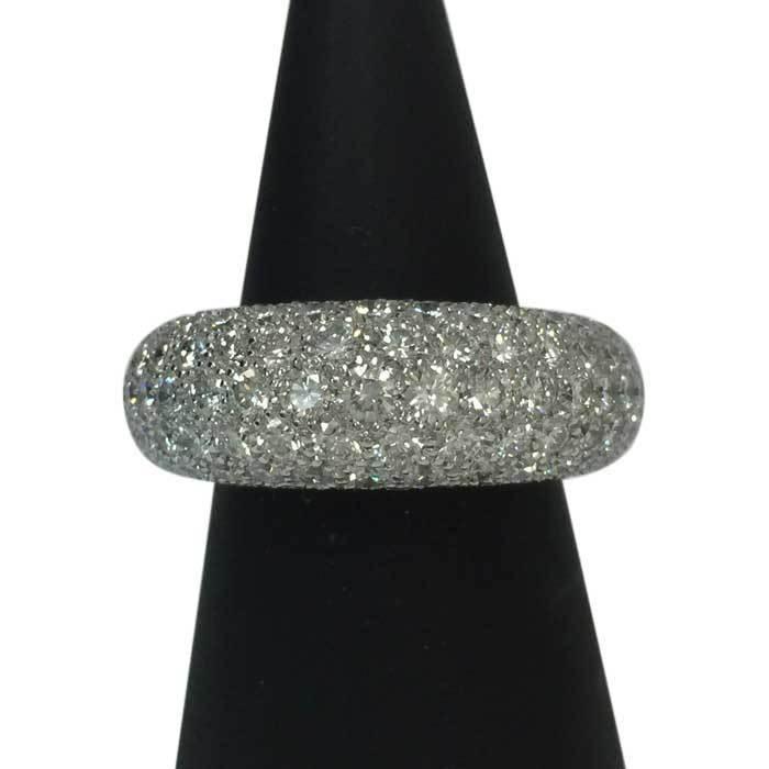 【新品同様】【美品】ショーメ CHAUMET アノーリング パヴェダイヤ MM 指輪 K18WG 15号相当 新品磨き済み シルバー_画像1