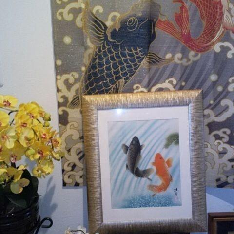 鯉の滝登り 絵画 日本画 開運