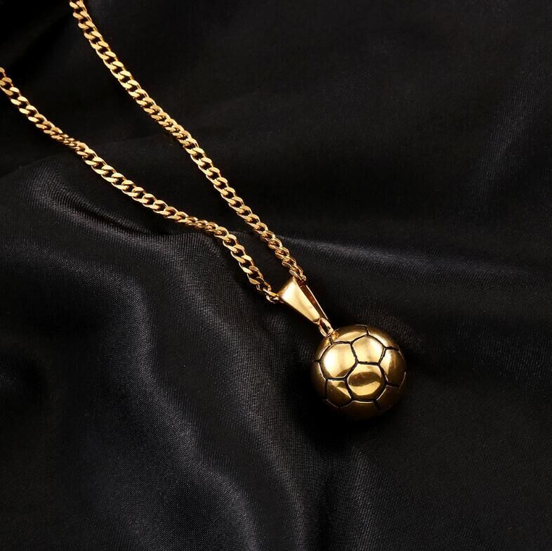 【定価2万】【特A品】※送料無料※18KGP チェーン サッカー インゴット ネックレス ステンレス鋼 男女兼用 新品 ピンクゴールド