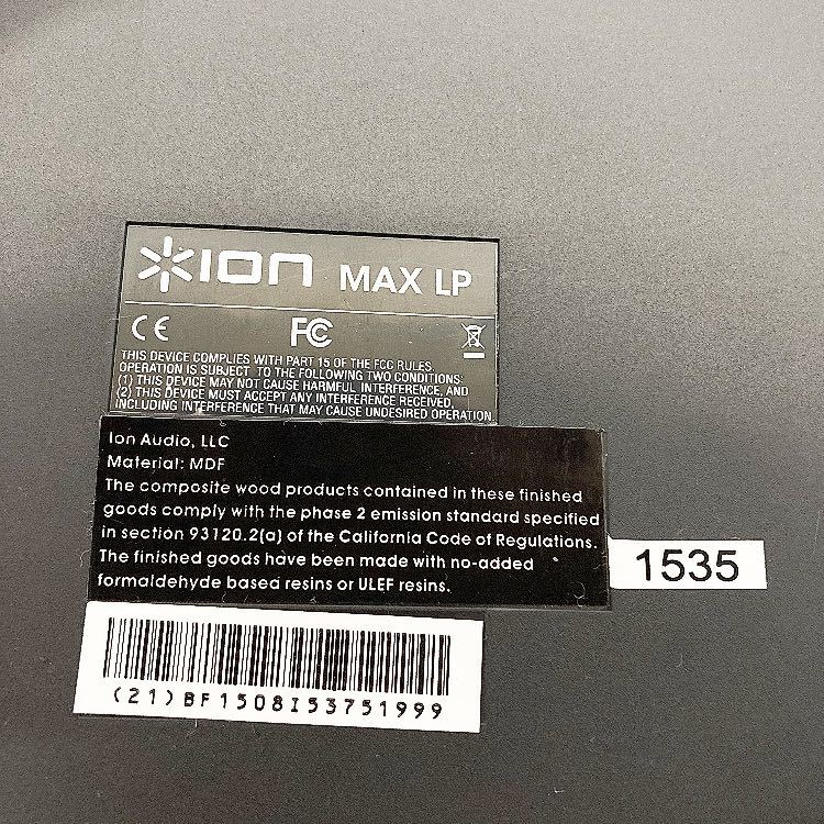 動作品 ION MAX LP アイオン オーディオ オールインワン USB ターンテーブル レコードプレーヤー スピーカー内蔵 alp梅912_画像9