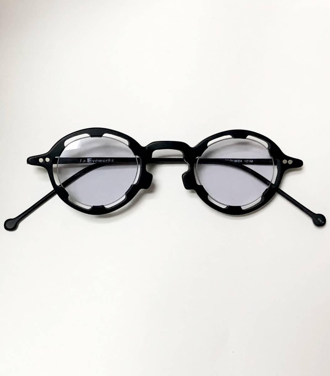 【ビンテージ・未使用】1990年代 l.a. Eyeworks イタリア製レグンバ 黒 高級メガネ エルエーアイワークス /ヴィンテージ 米国ブランド_画像9