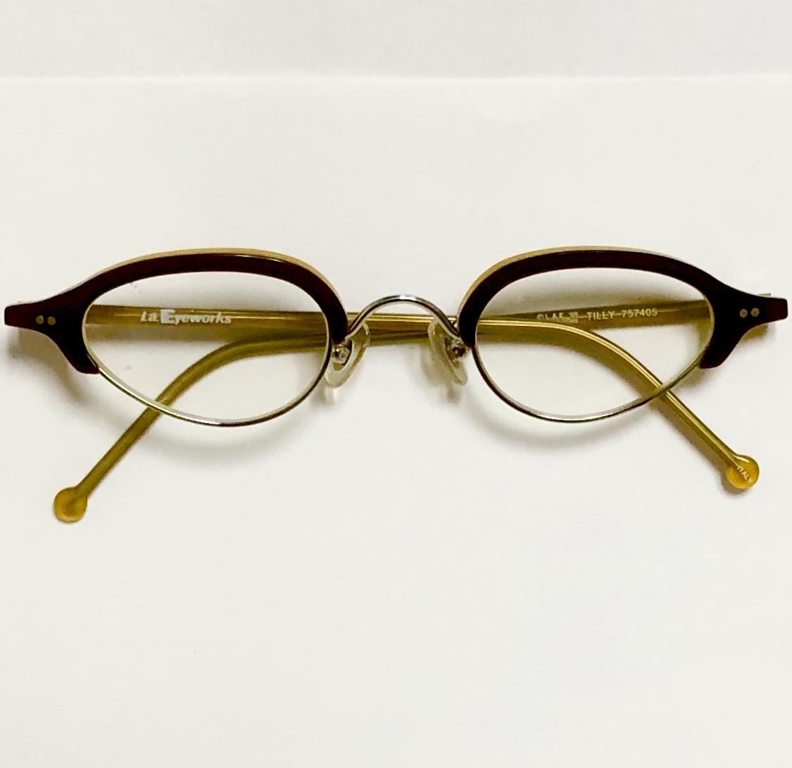 ビンテージ・新品】1990年代 l.a. Eyeworks イタリア製ティリー 茶色 高級メガネ エルエーアイワークス /ヴィンテージ 米国ブランド_画像9