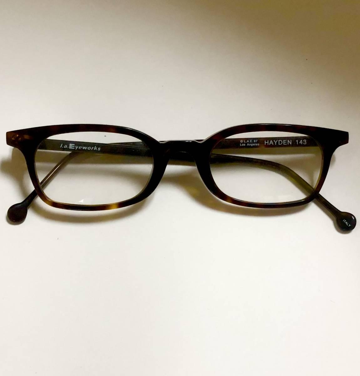 ビンテージ・未使用】1990年代 l.a. Eyeworks イタリア製 べっ甲色 高級メガネ エルエーアイワークス /ヴィンテージ 米国ブランド_画像1