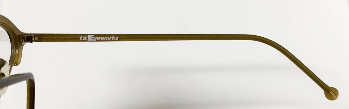 ビンテージ・新品】1990年代 l.a. Eyeworks イタリア製ティリー 茶色 高級メガネ エルエーアイワークス /ヴィンテージ 米国ブランド_画像5