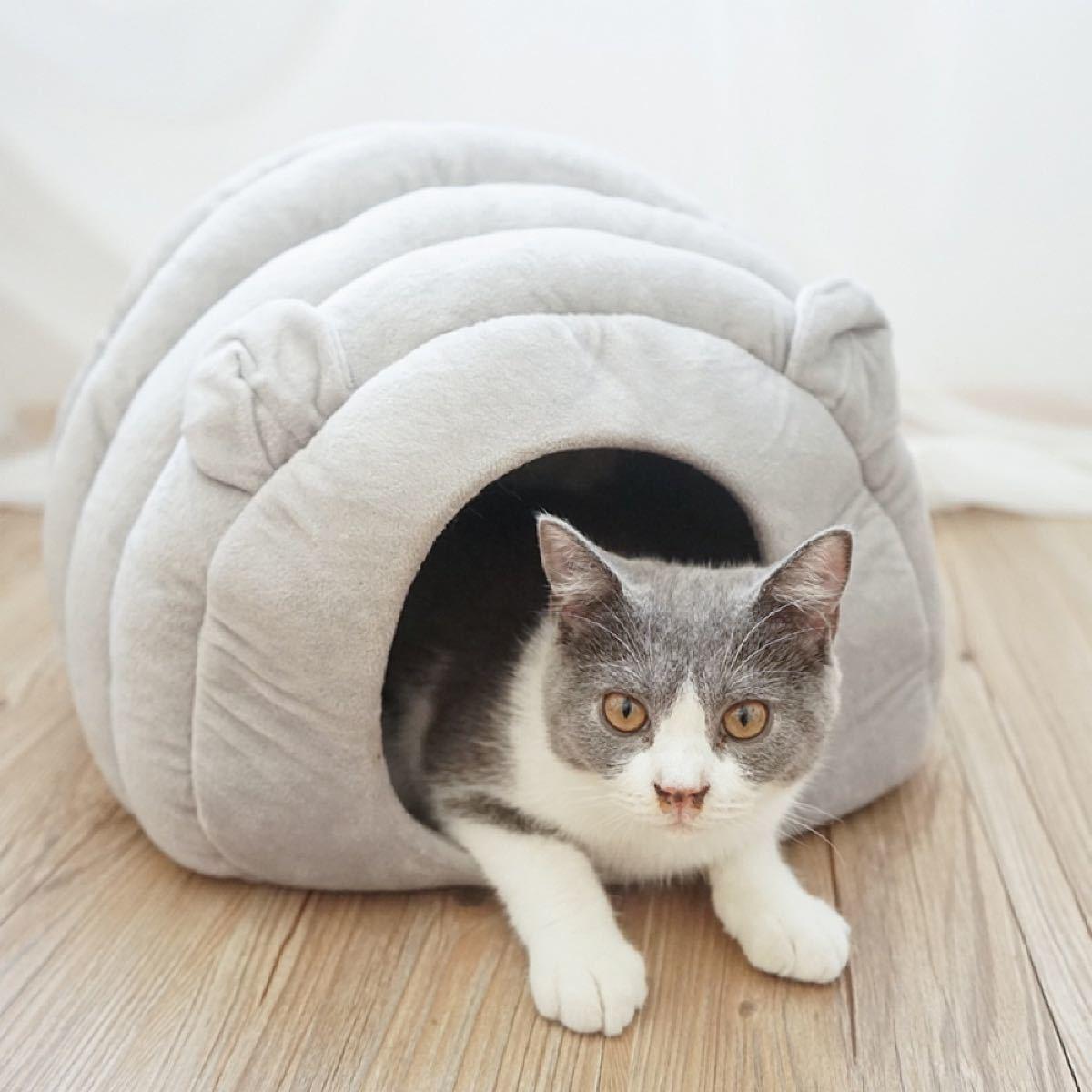 猫ハウス 冬 猫用ベッド 猫 ドーム型 ベッド 犬小屋クッション付き水洗え