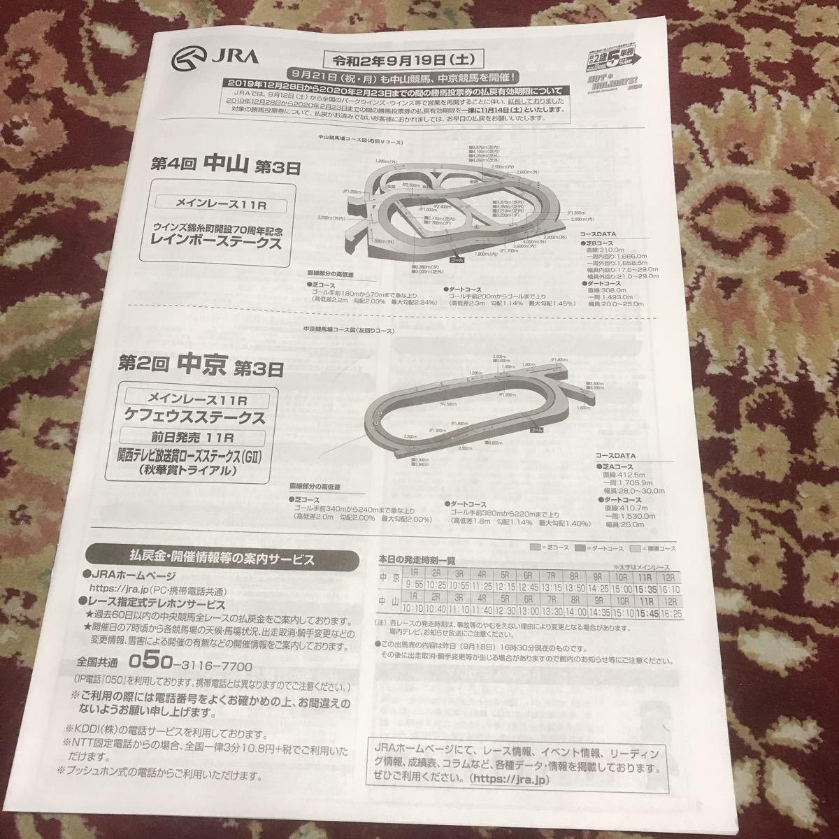 JRAレーシングプログラム令和2年9月19日(土)レインボーステークス、ケフェウスステークス_画像1