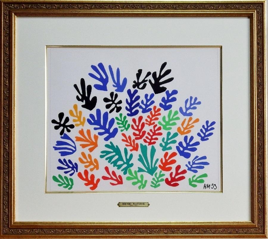 #アンリ・マティス#花束# 真作保証 リトグラフ 証明シール フォーヴィスム代表的画家 20世紀活躍 黄袋・挿し箱付属_画像1