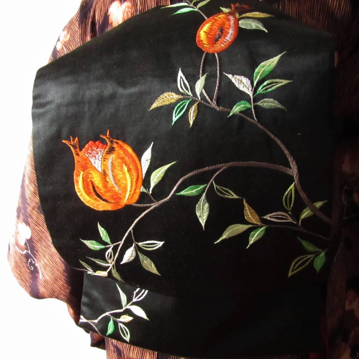 ☆柘榴の日本刺繍 アンティーク名古屋帯 着物 大正ロマン レトロ ザクロ_コーディネート例です。