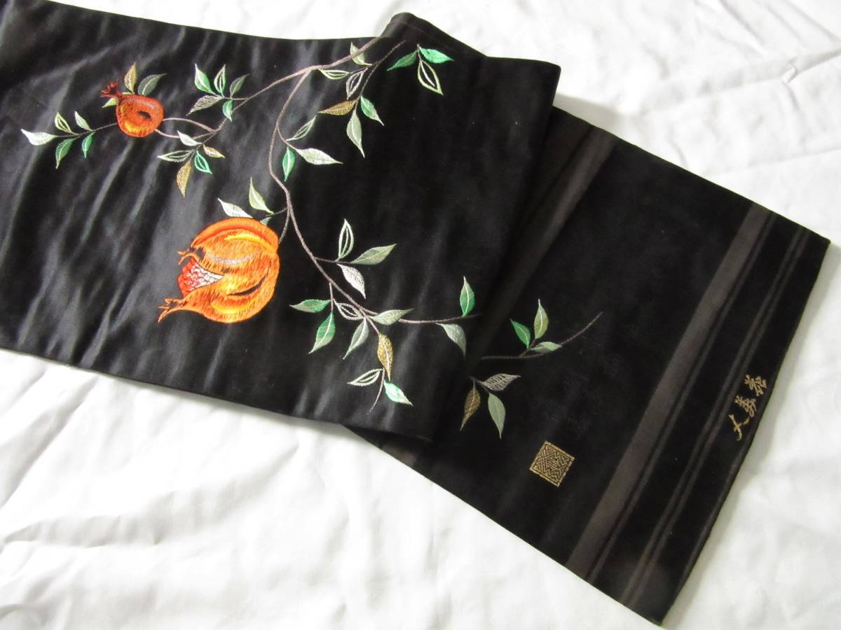 ☆柘榴の日本刺繍 アンティーク名古屋帯 着物 大正ロマン レトロ ザクロ_画像9