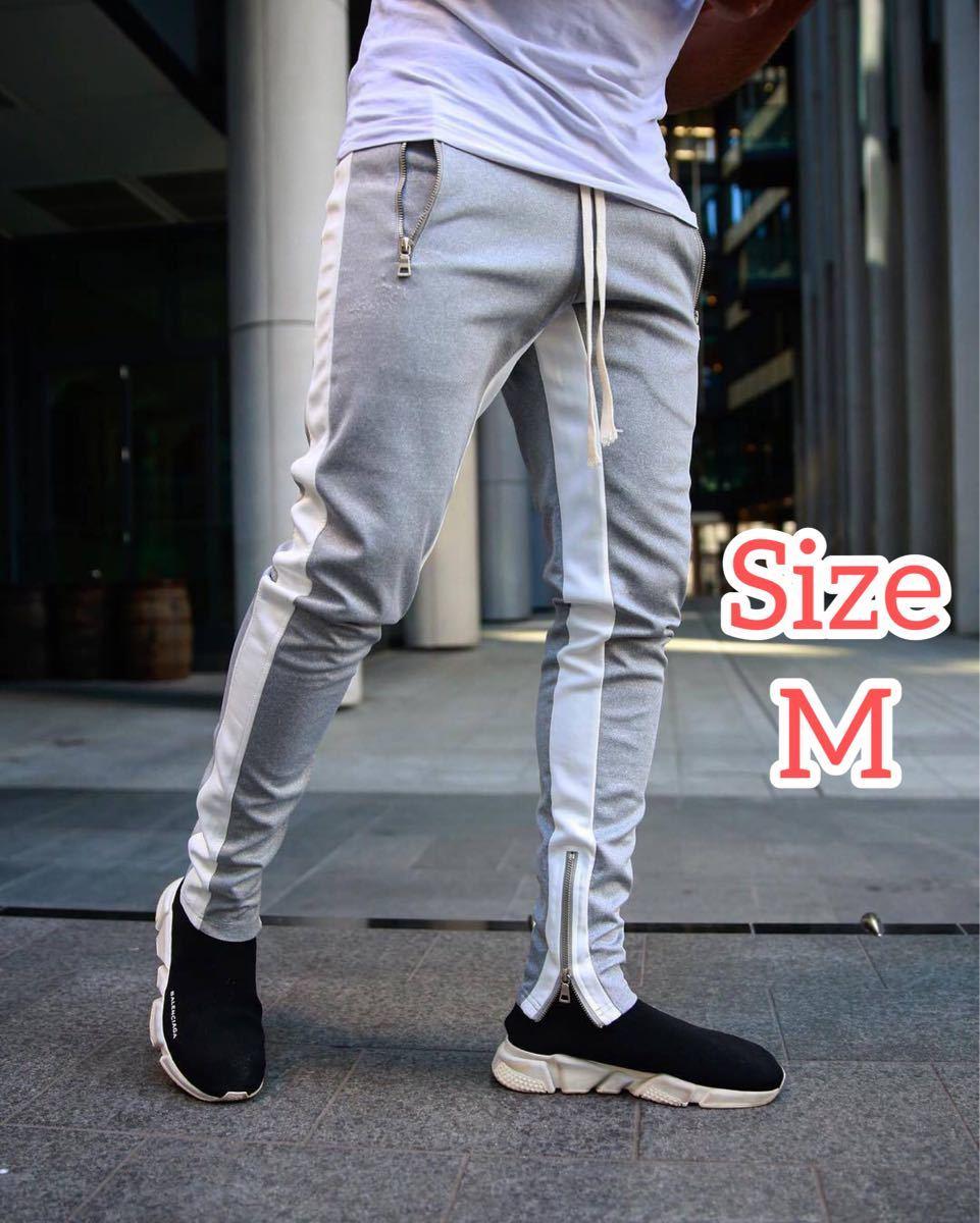 【Mサイズ】グレー ジョガーパンツ ラインパンツ スキニー スウェット パンツ