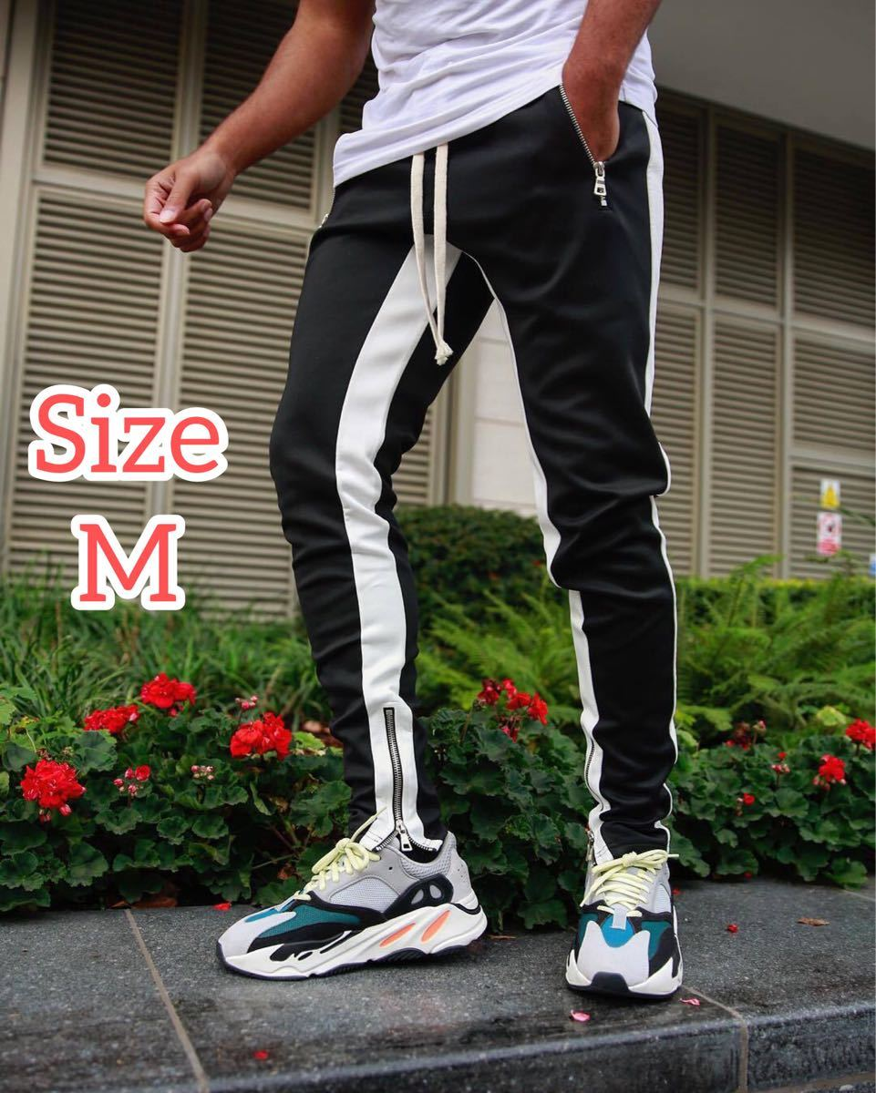 【Mサイズ】ブラック ジョガーパンツ ラインパンツ スキニー スウェット パンツ