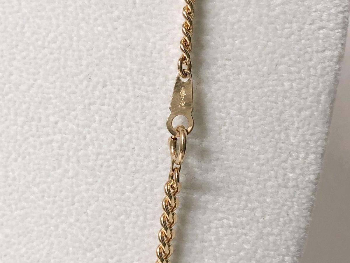 K18 喜平2面カット シングル ゴールドネックレス 50cm 20.2g_画像4