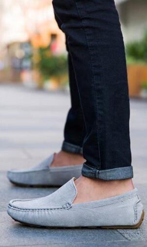 ローファー スリッポン 新品メンズ ドライビングシューズ カジュアル 紳士靴 グレー 25.5cm_画像3