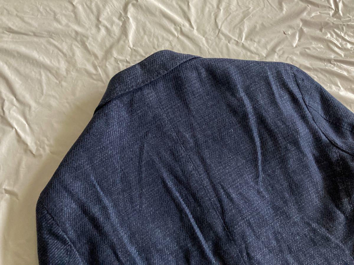 美品 eidos エイドス ネイビー系 44 テーラード ジャケット 46 42 ラルディー二 好きにオススメ コットン リネン 織柄 イザイア isaia S~M_画像6