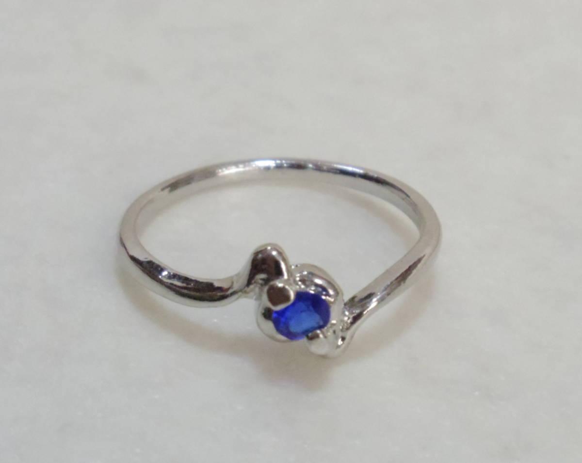 □指輪 約15号 カラーストーン⑩ リング 青色系 未使用 レディース 女性用 アクセサリー 指飾り 装飾品 ブルー系【萌猫堂】_画像1