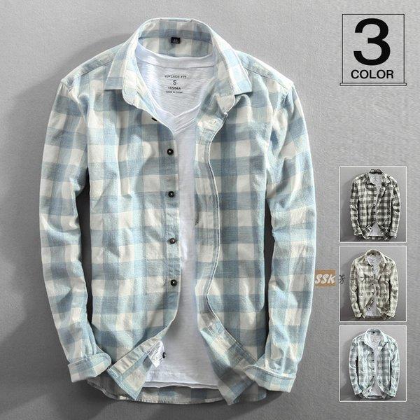 カジュアルシャツ チェックシャツ メンズシャツ メンズ スリムシャツ シャツ 長袖シャツ トップス ファッション :ssk20071505