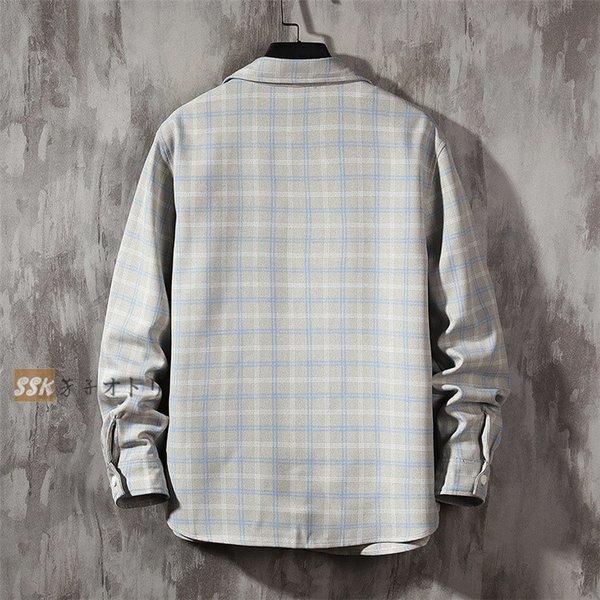 カジュアルシャツ メンズ 秋服 シャツ ネルシャツ チェックシャツ トップス 長袖シャツ 開襟シャツ メンズシャツ :ssk20073116