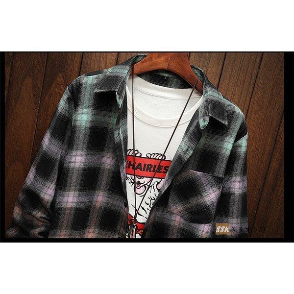 カジュアルシャツ メンズ 秋服 シャツ チェックシャツ トップス 秋物 長袖シャツ メンズシャツ グラデーション :ssk20082814