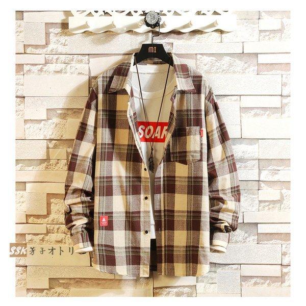 チェックシャツ メンズ 秋服 カジュアルシャツ シャツ 長袖シャツ オーバーサイズ ゆったり トップス メンズシャツ :ssk20080314