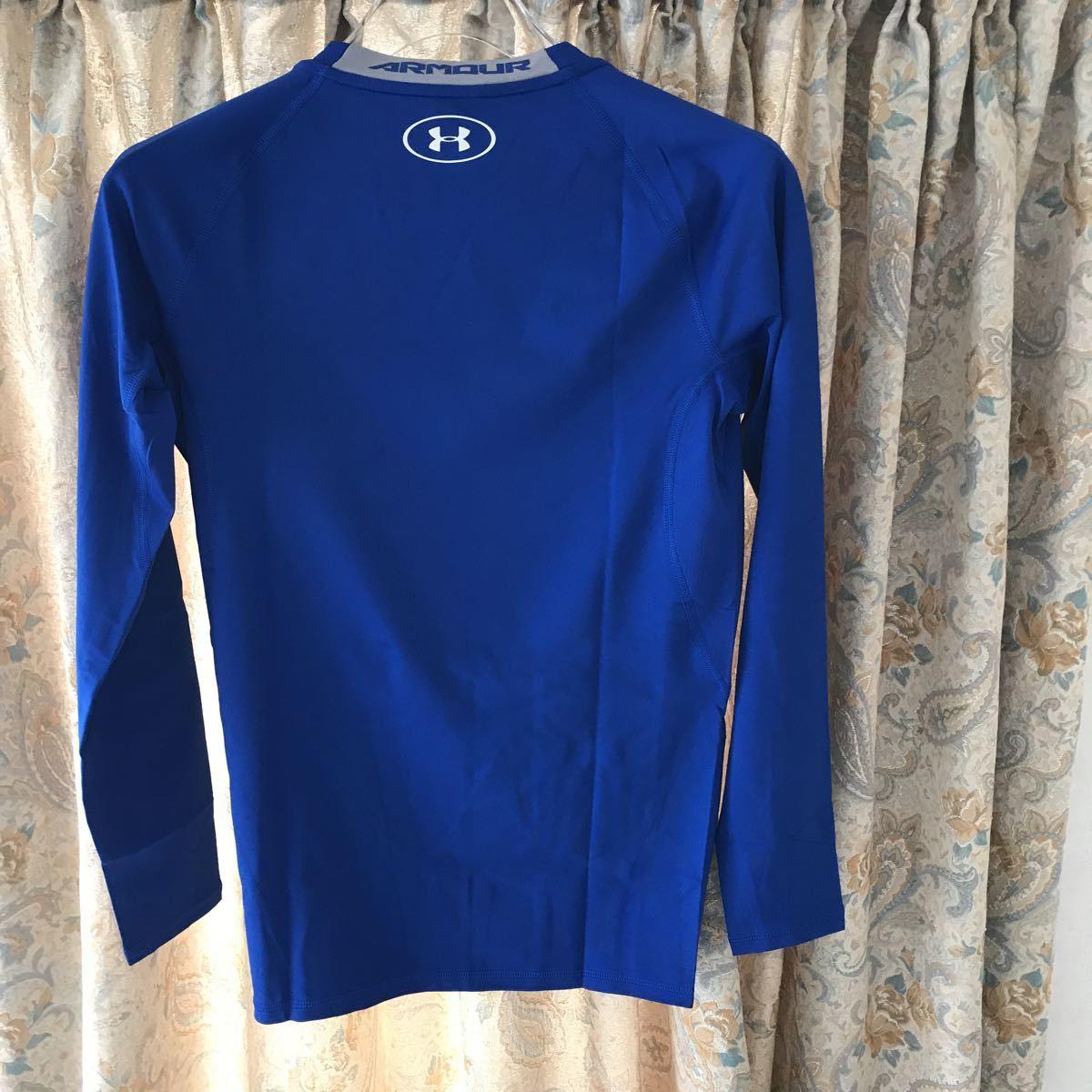 2点新品アンダーアーマー 長袖インナーシャツ ブルー Lサイズ ヒートドギア コンプレッション 野球 サッカー ランニング フットサル
